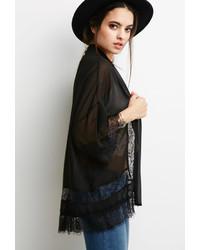 Forever 21 Eyelash Lace Paneled Kimono