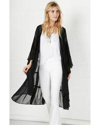 Glamorous Tiered Lace Kimono In Black Xs
