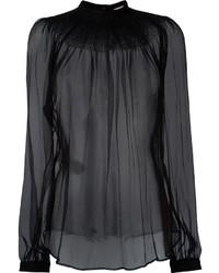 Black Chiffon Long Sleeve Blouse
