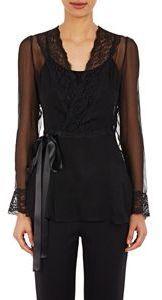 Dolce & Gabbana Chiffon Crossover Front Blouse Black Size 38 It
