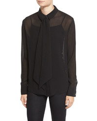 Chiffon tie blouse noir medium 831041