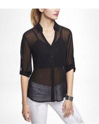 Express Beaded Chiffon Convertible Sleeve Portofino Shirt