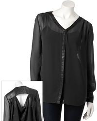 Rock & Republic Faux Leather Trim Chiffon Shirt