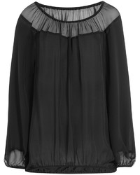 Tamara Mellon Silk Chiffon Blouse With Bardot Shoulders