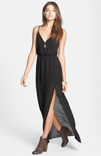 Lush Open Back Chiffon Maxi Dress Black Small 52 Nordstrom