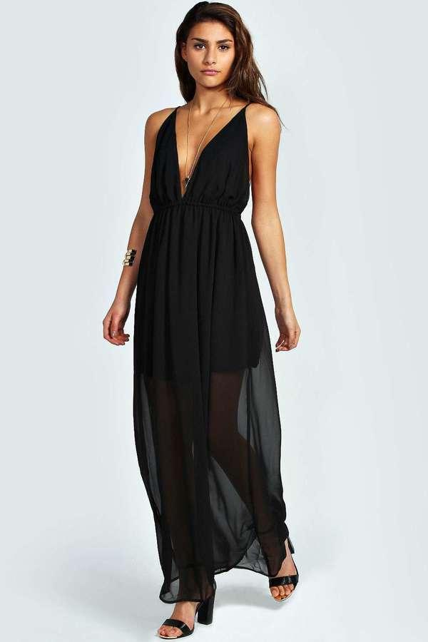 Cheap black chiffon maxi dress