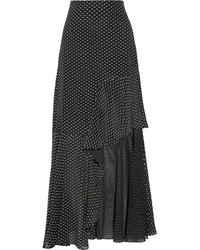 Rosetta Getty Asymmetric Ruffled Fil Coup Chiffon Maxi Skirt Black