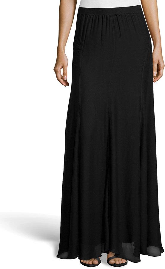 heritage paneled chiffon maxi skirt black
