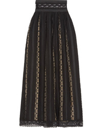 PIERRE BALMAIN Lace And Chiffon Maxi Skirt Black