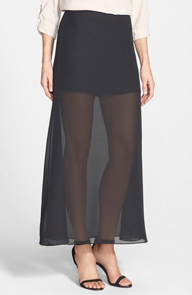 rich morganite chiffon overlay maxi skirt