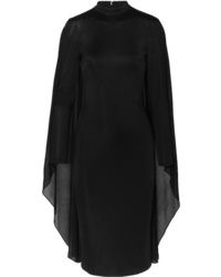 Tom Ford Cape Effect Satin Jersey And Chiffon Dress