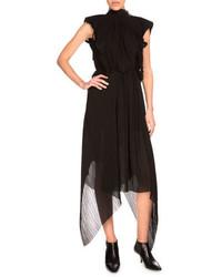 Kenzo Pliss Chiffon Midi Dress Black