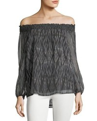 Joie Azzedine D Off The Shoulder Silk Chiffon Top
