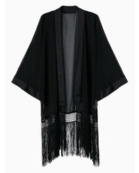 Choies black bat sleeve kimono coat with tassel medium 75204