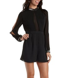 Charlotte Russe Ark Cobeaded High Neck Long Sleeve Romper