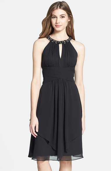 Eliza J Embellished Neck Layered Chiffon Fit Flare Dress | Where to ...