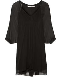 Diane von Furstenberg Fleurette Silk Chiffon Mini Dress Black