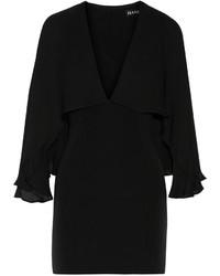 Haney Adriana Cape Back Stretch Silk Mini Dress Black
