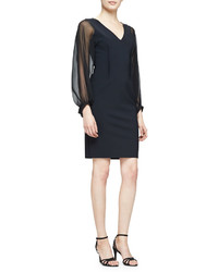 Rickie Freeman For Teri Jon Long Sheer Sleeve Sheath Cocktail Dress