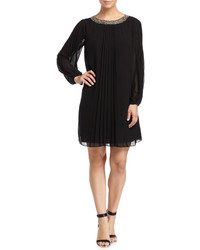 Andrew Marc Marc New York By Pleated Chiffon Long Sleeve Dress Black