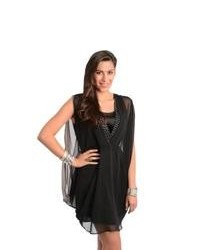 Stanzino Black Chiffon Overlay Party Dress