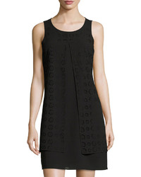 Neiman Marcus Laser Cut Chiffon Shift Dress Black