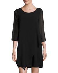 Neiman Marcus Chiffon Sleeve Shift Dress Black