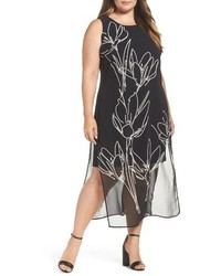 Vince Camuto Plus Size Fluent Cluster Overlay Shift Dress