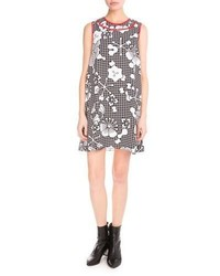 Kenzo Tanami Flower Sleeveless Shift Dress Black