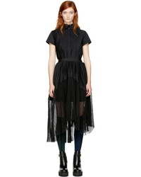 Sacai Black Pleated Shirt Dress