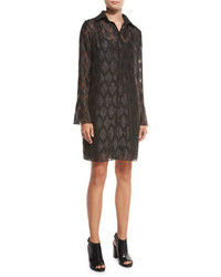 MICHAEL Michael Kors Michl Michl Kors Long Sleeve Diamond Jacquard Shirtdress Black