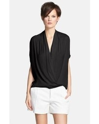 Black Chiffon Short Sleeve Blouse