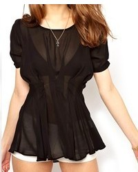 ChicNova Pure Color Short Sleeves Transparent Chiffon Blouse