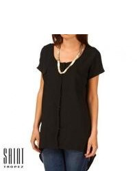 Saint tropez chiffon front short sleeve shirt black medium 110899