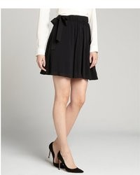 RED Valentino Black Stretch Chiffon Ribbon Accent Mini Skirt