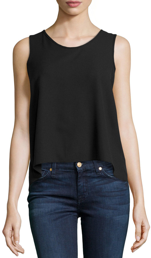 ecc004bbcd2d4 ... Casual Couture Sleeveless Chiffon Blouse W Pleated Back Black ...