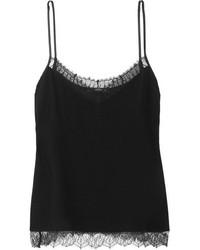 Etro Lace Trimmed Silk Chiffon Camisole Black