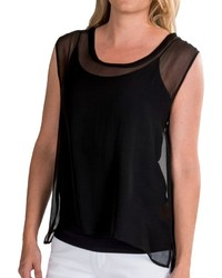 Chaser Sheer Chiffon Shirttail Tank Top Silk Cotton