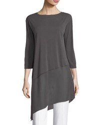 Eileen Fisher Bateau Neck 34 Sleeve Stretch Jersey Tunic Top Plus Size