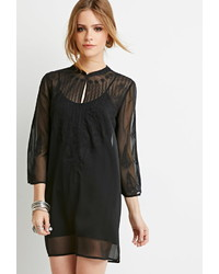 Forever 21 Embroidered Chiffon Peasant Tunic