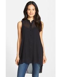 Eileen Fisher Mandarin Collar Silk Tunic
