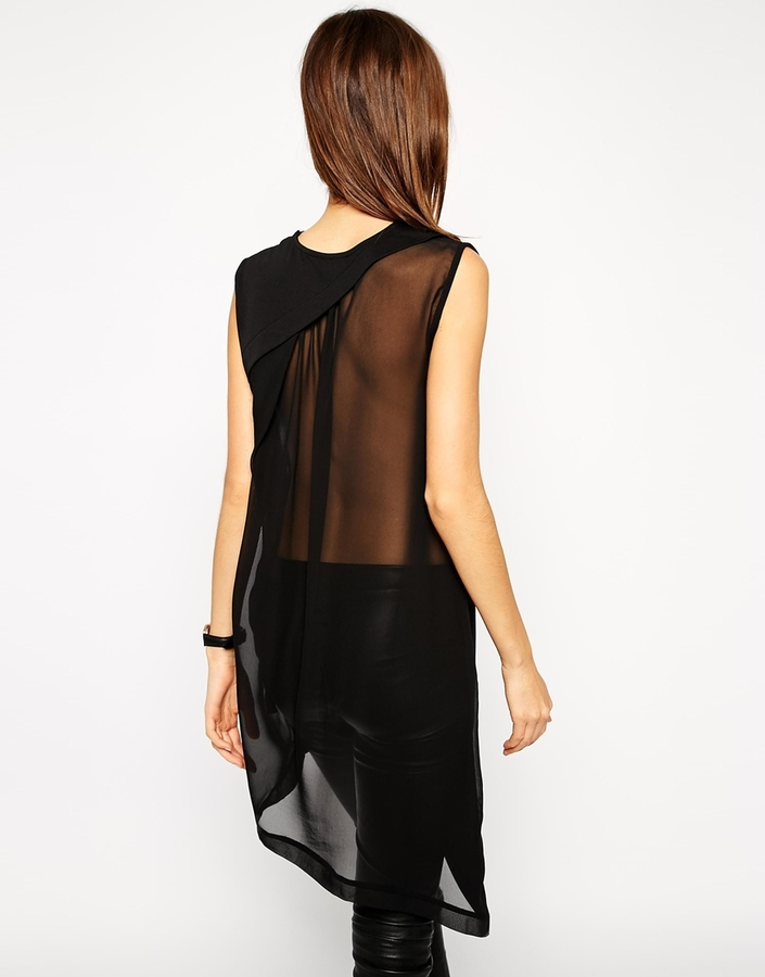 Beautiful Asos Tunic In Crepe With Sheer Chiffon Back | Where to buy & how  ZR94