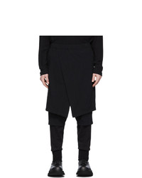 Julius Black Contrast Layered Trousers