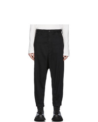 Julius Black Cropped Low Crotch Trousers