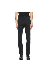 Salvatore Ferragamo Black Gabardine Slim Fit Trousers