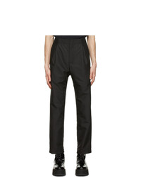 Neil Barrett Black Satin One Pleat Trousers