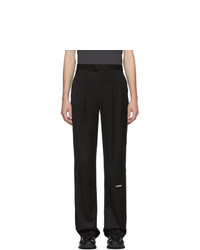 C2h4 Black Trailblazer Pleated Turn Up Trousers