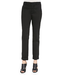 Cuffed twill boyfriend trousers medium 440535