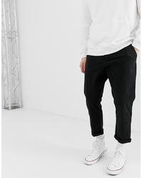 ASOS DESIGN Tapered Cropped Chinos In Black