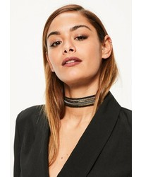 Missguided Black Chain Trim Choker Necklace